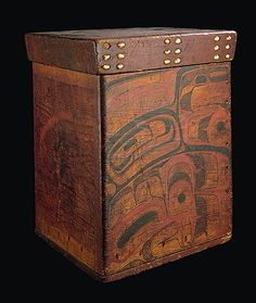 The unusual decoration on this bentwood storage box displays the idiosyncratic style practised by some Skidegate Inlet artists towards the end of the nineteenth century.  From the Lord Bossom collection. CMC VII-X-621 (S94-6786 to -6789)