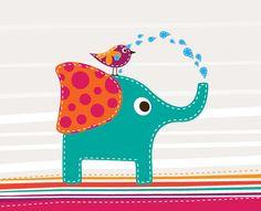 Cute Elephant And Bird background by DryIcons.com