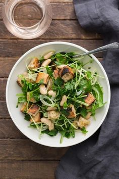 White Bean Salad with Pea Shoots and Spinach for #FreshFoodMatters with @subzerowolf #sp