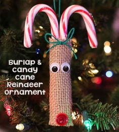 Burlap and Candy Cane Reindeer Ornaments. No instructions, but looks easy to make, and cute too.