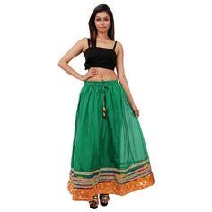 Beautiful Green Cotton Solid Skirt