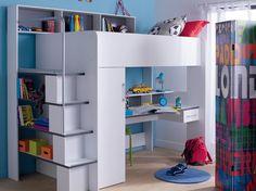 Le combiné lit-bureau-rangements L'idéal pour une chambre d'enfants à l'espace réduit ? Un lit en hauteur qui combine bureau et rangements, comme celui-ci. Gain de place assuré ! ©Conforama