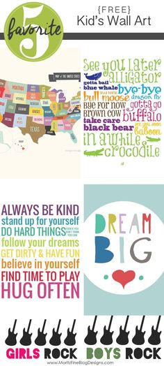 Free Printable Kid Wall Art - http://www.oroscopointernazionaleblog.com/free-printable-kid-wall-art/