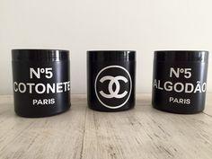 Kit Porta Cotonete e Algodão inspired Chanel