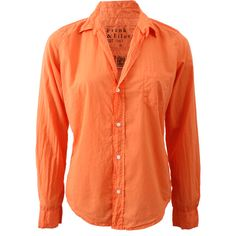 Frank & Eileen Barry Button Down Poplin Blouse (250 CAD) ❤ liked on Polyvore featuring tops, blouses, button blouse, red blouse, v-neck tops, button down blouse and orange top