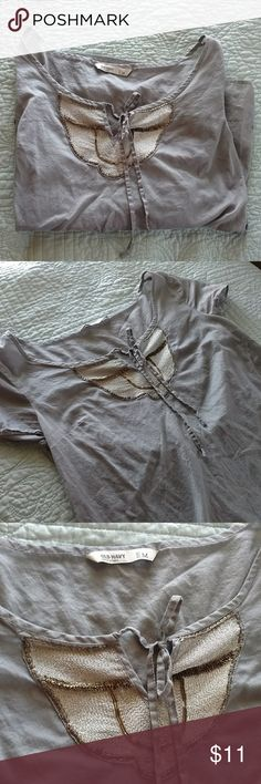SUPER CUTE Embellished Blouse This gray, light weight blouse with metallic embellishments is perfect for a spring day! Only worn once! I love this top but I need more space in my closet :) Old Navy Tops Blouses