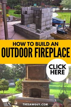 How to Build an Outdoor Fireplace Create a gorgeous and homey outdoor area that you can enjoy with your family and friends. If you're an experienced DIY-er who has done masonry and chimney work, you m Build Outdoor Fireplace, Outside Fireplace, Outdoor Fireplace Designs, Backyard Fireplace, Diy Fireplace, Fire Pit Backyard, Backyard Patio, Backyard Landscaping, Fireplace Modern