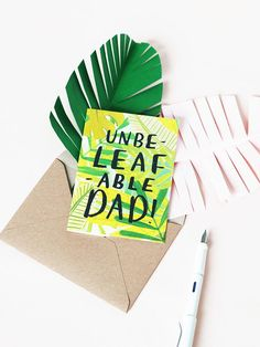 UnbeLEAFable Dad Father's Day Leaf Gardening Card perfect for dad's who love puns!