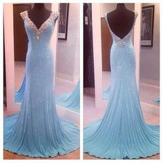 Princess Prom Dress, light blue prom dresses sequin evening dress sequined prom gowns open back prom gown beautiful formal gown v neck evening dress beaded prom dress OK Bridal Sequin Evening Dresses, Beaded Prom Dress, Backless Prom Dresses, Prom Dresses Blue, Evening Gowns, Formal Dresses, Dress Prom, Dress Long, Prom Dresses