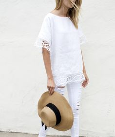 Place Nationale | smock caftan top with embroidered lace on sleeve and hem