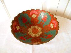 Vintage India painted  enamel Brass decorative Bowl