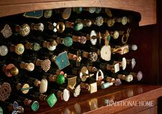 Knob hardware attached to corks creates a dazzling wine-stopper display in this Napa Valley dining room. - Photo: Dustin Peck / Design: Julie Rootes