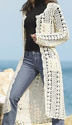 Crochet Pattern Vintage Long Line Cardig - Diy Crafts - DIY & Crafts Crochet Cardigan Pattern, Crochet Jacket, Crochet Poncho, Boho Crochet Patterns, Beautiful Crochet, Crochet Clothes, Knitting, Sweaters, Diy Crafts