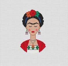 Frida Kahlo Cross Stitch pattern ____Instant download pdf pattern only!____ Design area 83x112st The pattern will fit nicely in a 6x8 frame (or 15. cm x 20 cm) on 14 count fabric Design size in stitches:53x92st Design size in inches / centimeters: 14 count Size: 3.79 x 6.57