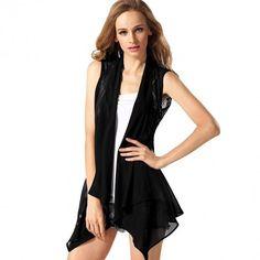 Stylish Ladies Women Casual Sleeveless Irregular Chiffon Lace Patchwork Cardigan Vest Blouse