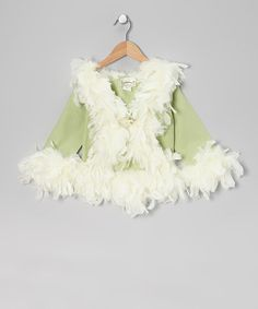 Take a look at this Mint Green Feather-Trim Linen Jacket - Infant, Toddler & Girls by Elena Collection on #zulily today!