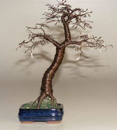 Simple and practical guide for anyone who wants to make a start in Training of Various Bonsai Styles. Here you will find complete information starting from materials required and processed involved in Training Bonsai trees. Materials and Tools. Wire Tree Sculpture, Sculpture Art, Wire Sculptures, Bonsai Tree Types, Fairy Garden Furniture, Bonsai Styles, Wire Crafts, Jewelry Crafts, Wire Trees