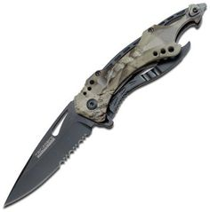 TAC Force TF-705GC Assisted Opening Tactical Folding Knife Black Half-Serrated Blade Grey Camo Handle 4-1/2-Inch Closed