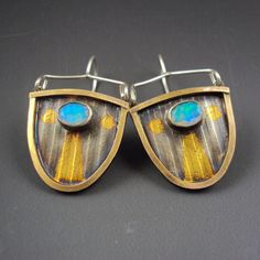 Gold and Silver Keum Boo earrings with Ethiopian Opals by Dana Evans.