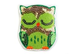 Aufbügler mit Pailletten Eule – lime Pot Holders, Sequins, Owls, Fabrics, Hot Pads, Potholders, Planters