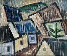 Krajina v dešti Déšť by Josef Capek Georges Braque, Constructivism, High Art, Cubism, Urban Landscape, Architecture Art, Art History, Watercolor Paintings, Cool Art