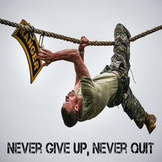 "US Military Army Ranger ""Never Give Up, Never Quit"" poster"