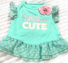 Dog Dress Size XXS Pet Puppy Clothing Green Color Wildy Cute Pink Flower  | eBay
