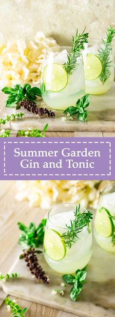 This garden gin and tonic is the ultimate summer gin cocktail! Made with a medley of fresh herbs, this summer gin and tonic is as refreshing as it gets. This fresh herb gin and tonic is sure to be the hit cocktail at your next summer party. #gardenginandtonic #gardenginbar #gardenginbarideas #summergincocktails #summergindrinks #summerginandtonic #summercocktails Easy Drink Recipes, Drinks Alcohol Recipes, Yummy Drinks, Summer Recipes, Beef Recipes, Cooking Recipes, Family Recipes, Cold Drinks, Beverages
