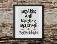BOGO FREE! Harry Potter Cross Stitch Pattern, Wizards and Witches Welcome xStitch, Hogwarts Quote Modern Decor, PDF Instant Download #016-12 by StitchLine on Etsy