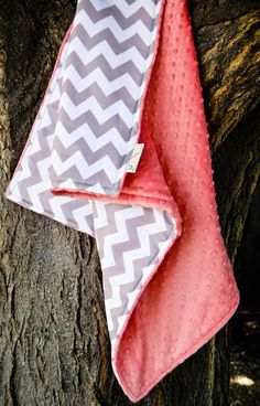 Coral & Gray Chevron Stroller Blanket, Chevron and Minky, Toddler Baby Blanket in Designer Riley Blake Fabric - Made to Order