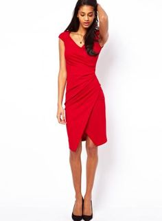 Starry Pencil Dress With Ruched Wrap Red,  Dress, sexy chic dress lady, Chic