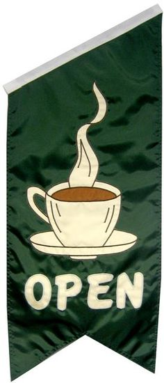 Open Coffee Cup Dowel Banner