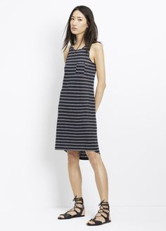 Double Stripe Linen Tank Dress
