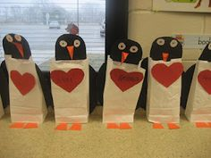 Cute penguin Valentine bags. I am going to try this for Bray's 1st grade class :)