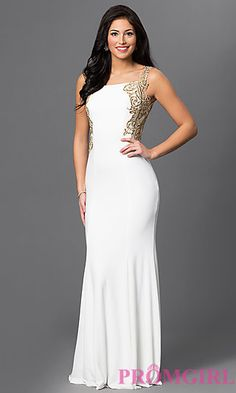 Long Bateau Neck Open Back Dress 1791 by Dave and Johnny at PromGirl.com