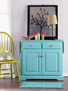Redo a Cabinet:Redo a Cabinet     Spray paint always makes for a smooth finish on large pieces of furniture, such as this cabinet. When the paint dries, coat the surface with polyurethane to add a uniform sheen