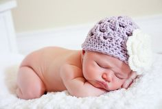 Crochet Girls Hat, Newborn Hat, Purple and Cream Flower Beanie Baby Hat Photography Prop on Etsy, $18.50