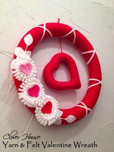 Clover House: Yarn and Felt Valentine Wreath with Loopy Felt Flower How-tos