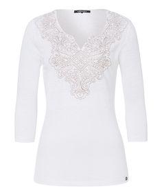 Leinen-Shirt Stickerei - white | Olsen.de