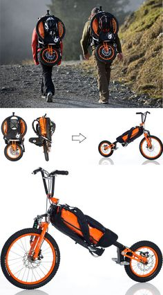 Bergmonch Folding Bike: We've seen several folding bicycles, but the Bergmonch is the first to fold into a functional backpack; at only 9.5 kilograms, it can be lugged around like a conventional bag.