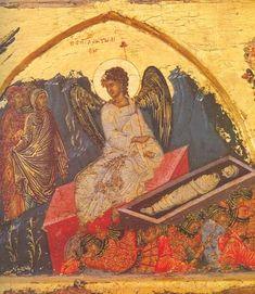 Angel at the empty tomb,Monastery Of Saint Ioannis Lampadistis Cyprus Empty Tomb, Byzantine Art, Roman Emperor, Medieval Art, Sacred Art, Ancient Greek, Fresco, Renaissance, Empire