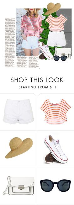 """""""striped shirt"""" by dina-97 ❤ liked on Polyvore featuring Topshop, Rebecca Minkoff, Converse and Marc by Marc Jacobs"""