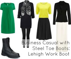 How to achieve business casual style when you have to wear steel toe boots, via @wardrobeoxygen featuring Lehigh Outfitters Boots