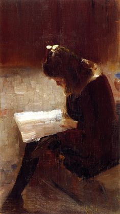 """"""" Harper's Weekly Tom Roberts (Australian, Oil on wood panel. National Gallery of Victoria, Melbourne. Harper's was a popular American magazine. Despite their British background, Australian artists became influenced. Reading Art, Girl Reading, Reading Books, Image Avatar, People Reading, Australian Artists, Figure Painting, Wood Paneling, Figurative Art"""