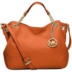 MICHAEL Michael Kors Jet Set Chain Medium Tote Handbag ($73) ❤ liked on Polyvore featuring bags, handbags, tote bags, purses, michael kors, tangerine, crossbody tote, leather tote purse, leather crossbody handbags and leather purses