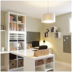 Home Office Storage, Home Office Organization, Home Office Design, Home Office Decor, Organizing Ideas, Home Decor, Ikea Office, Library Design, Desk Storage