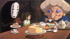 Spirited Away - Chihiro with witch and masked spirit