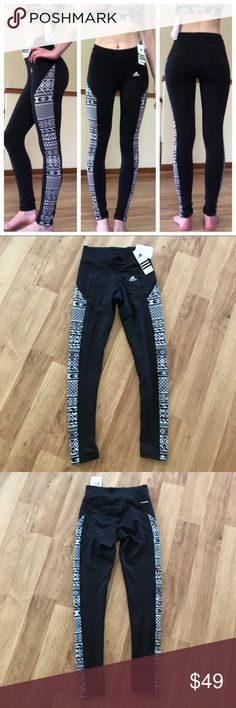 New Adidas Climawarm Black Printed Leggings XS ⚜️I love receiving offers through the offer button!⚜️ Brand new with tags, as seen in pictures! Fast same or next day shipping!📨 Open to offers but I don't negotiate in the comments so please use the offer button😊 adidas Pants Leggings