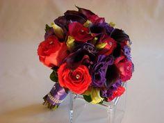 Bridal Bouquets, modern, vibrant, hot pink, purple. www.plushflowers.ca