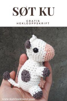 Gratis oppskrift på en søt liten ku! #gratis #heklet #hekleoppskrift #hekling #bamse #amigurumi #ku